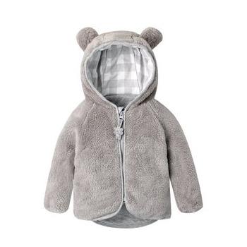 秋冬款宝宝动物造型绒毛纯色拉链保暖连帽上衣可爱的小熊造型外套.