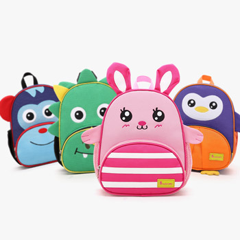 炒鸡可爱的动物造型书包,有粉粉的小兔子,橙色和紫色拼接的企鹅