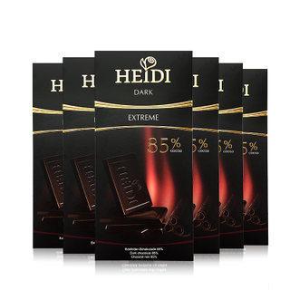 双11预售:HEIDI 赫蒂 85%可可 特浓黑巧克力80G*6块 63元包邮(前1000名预定)85%