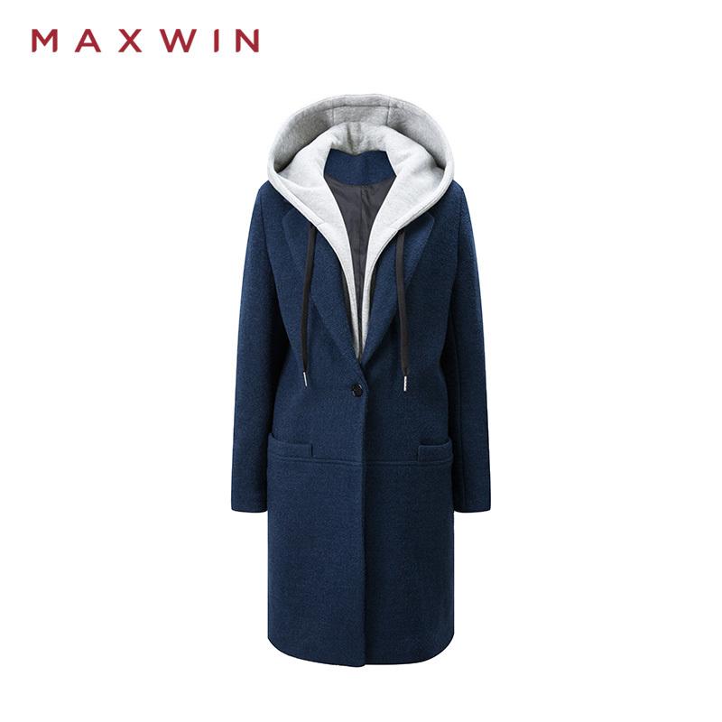 ¥299 MAXWIN马威女士秋冬新款休闲保暖长款连帽大衣