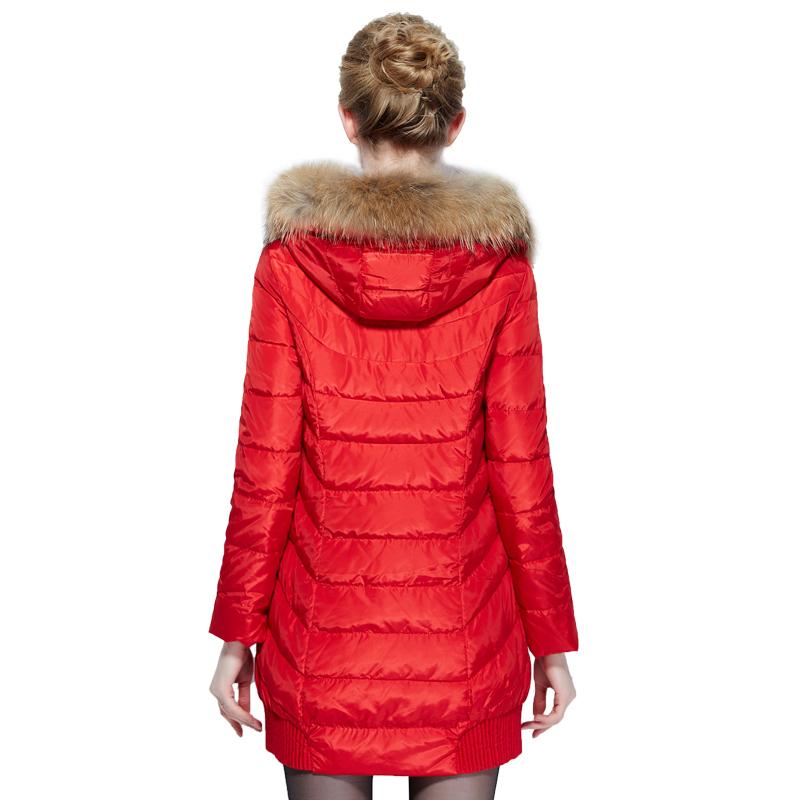 雅鹿羽绒服女中长款 时尚保暖大貉子毛领修身连帽冬装外套YO30380 199元