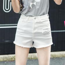 ¥19 牛仔短裤毛边高腰热裤