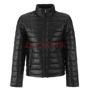 某东PLUS Trussardi Jeans杜鲁萨迪男士黑色羊皮革夹克外套52S06XX2400元'