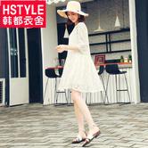 韩都衣舍2018韩版女夏装新款仙女蕾丝裙少女A字连衣裙MR6635汩 68元