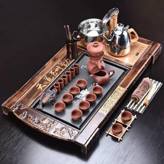 豪峰整套紫砂茶具套装家用实木茶盘茶海茶台茶壶配全自动上水四合一电磁炉套装 442元