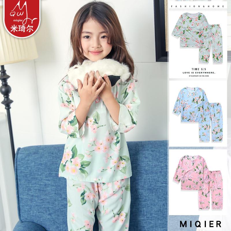 ¥39.8包邮 米琦尔 夏季薄款绵绸七分袖空调服睡衣套装