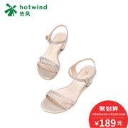 ¥189 热风2018年夏季新款小清新女士烫钻粗跟凉鞋一字扣带凉鞋H56W8217'