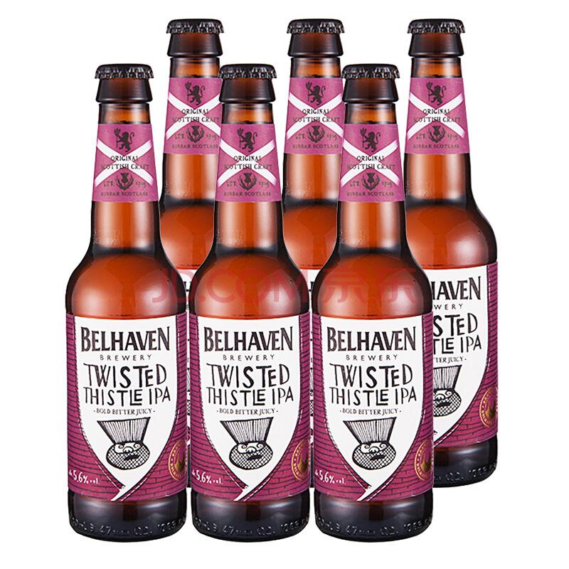 格林王(GreenKing)英国原装进口精酿啤酒 贝尔黑文弯曲的蓟花 330ml*6瓶 整箱装 *2件 110元(合55元/件)