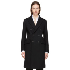 Dsquared2 Black Wool Double-Breasted Coat 黑色羊毛双排扣大衣