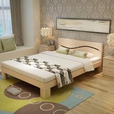 ¥539 喜人缘双人实木床松木儿童床环保无漆单人床1.2/1.5/1.8米(原木床无抽屉
