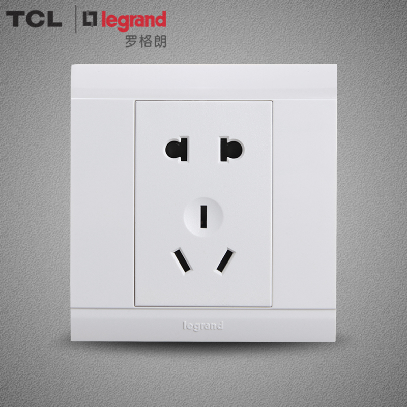 TCL开关插座罗格朗开关面板墙壁开关插座美仑山雅白10A五孔插座  券后6.4元