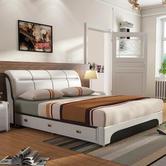 忆斧至家 软体皮艺床(皮床+3抽+椰棕床垫+2柜 1.8米)框架结构 ¥2280