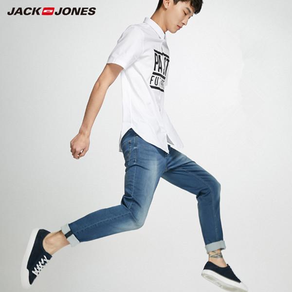 杰克琼斯新款修身小脚弹力轻薄浅色牛仔长裤 249.5元