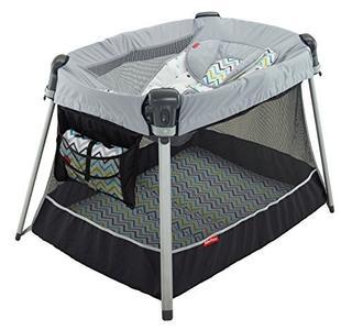 费雪(Fisher-Price)便携游戏床 带婴儿可调节睡篮