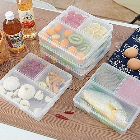 Moonyland 厨房收纳盒 塑料剩菜剩饭保鲜盒(4个装) 分隔饭盒 冰箱微波炉餐盒50元