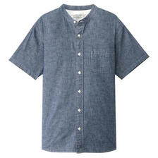 无印良品MUJI男式棉钱布雷立领短袖衬衫 特价149元包邮