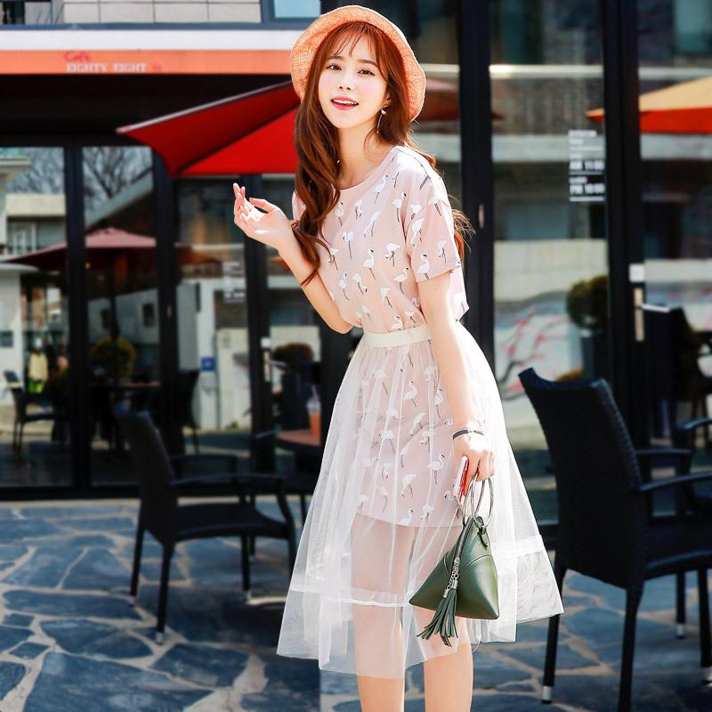 韩都衣舍 2018夏款短袖T恤裙网纱两件套 ¥103包邮(需用¥20优惠券)