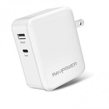 iPhone X快充支持!Ravpower 29W大功率USB PD 双口快充便携充电器 76元入手