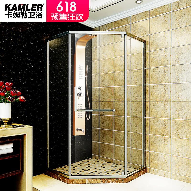618预售:卡姆勒定制不锈钢淋浴房整体浴室钻石沐浴房弧扇形一字隔断洗澡间 1043.00元