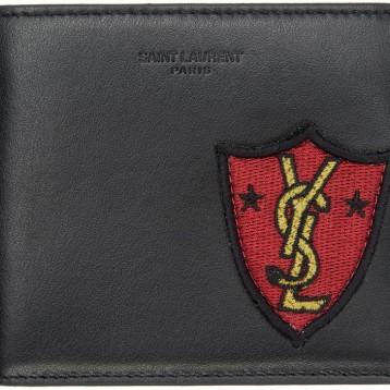 Saint Laurent Black Shield Patch East West Wallet 黑色真皮钱包 特价$225(¥1575)