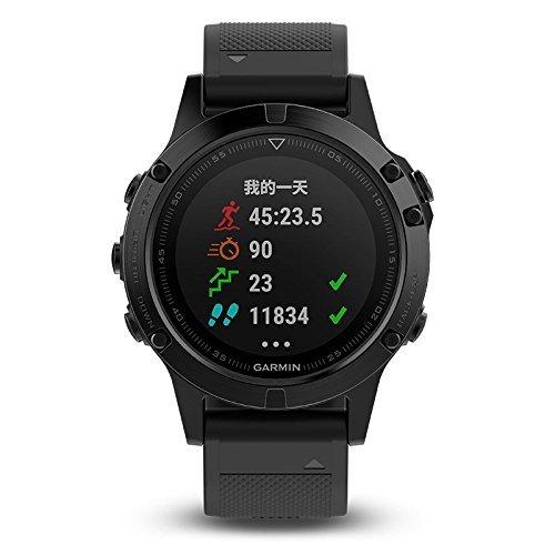 佳明(GARMIN) 男式 光电心率GPS运动户外跑步智能腕表蓝宝石镜面国行中文版 fenix5 DLC 黑色 5680元
