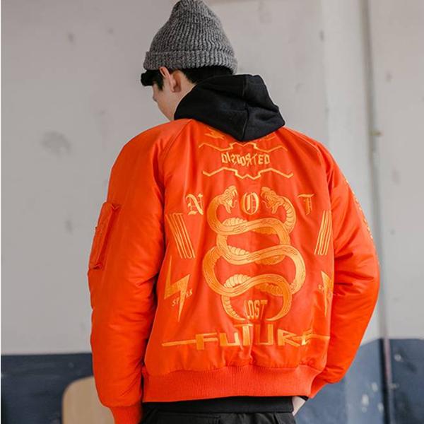 保暖时尚!NOTHOMME 橘色刺绣MA1夹克 189元包邮(需用券)