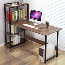 苏宁易购 百里香 简约现代台式电脑桌(带书架组合)园野橡木+黑架103.55元