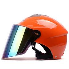 野马/YEMA327夏季电动车头盔男女摩托车安全帽防晒半盔 橘色配炫彩镜片 75元