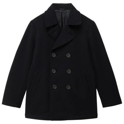 ¥254 无印良品MUJI男式羊毛混针织双排扣短大衣