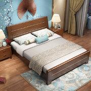 ¥1559 恒兴达 橡胶木实木床气压高箱储物床主卧1.8米新中式双人床简约现代1.5米抽屉床(1.8*2米胡桃色 床+床头柜*1)'