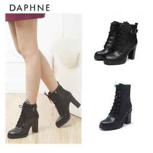 达芙妮 Daphne 女粗高跟皮带扣系带短靴 29.9元包邮