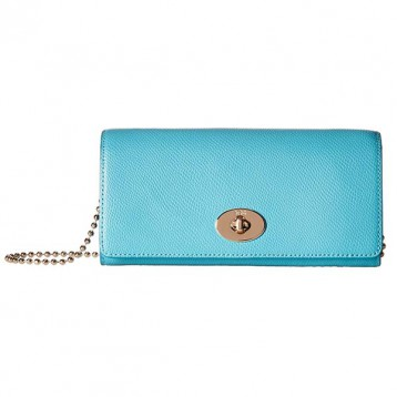3.8折好价!COACH 蔻驰 Crossgrain Leather Slim Chain Envelope 女士斜挎包 海淘
