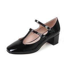 ¥189 优雅复古!TATA 他她 女士漆牛皮复古丁字扣带玛丽珍鞋 MLZ18BQ7