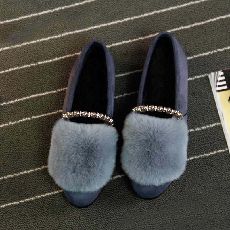 ¥39.8 加绒毛毛鞋女时尚豆豆鞋棉瓢