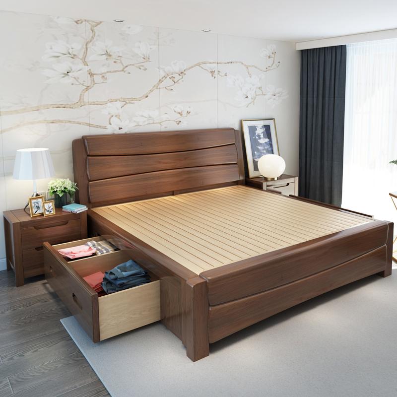 ¥1280 金屋藏娇 床 实木床1.5m1.8米 现代中式双人床 北欧简约双人床婚床 储物床高箱床(颜色备注 1.8米单床)
