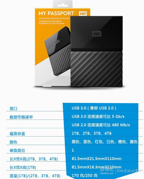 WD 西部数据 New My Passport 系列移动硬盘 4TB 888元