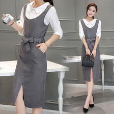 ¥59 长袖中长款衬衫连衣裙背带裙两件套