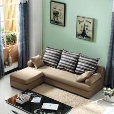 ¥1099 紫茉莉沙发简约现代布艺沙发脚踏组合小户型客厅可拆洗布沙发(浅巧