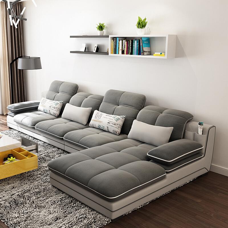 A家家具 可拆洗布艺沙发组合 (灰色 三人位+右贵妃位) 2499元包邮(下单立减)