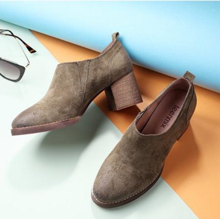 2017秋款 Teenmix 天美意 女士牛皮粗跟裸靴 两色 ¥318