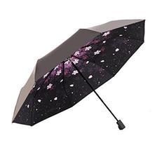 Yandex 创意折叠樱花伞 黑胶防紫外线太阳伞女防晒遮阳伞三折雨伞(水晶伞带