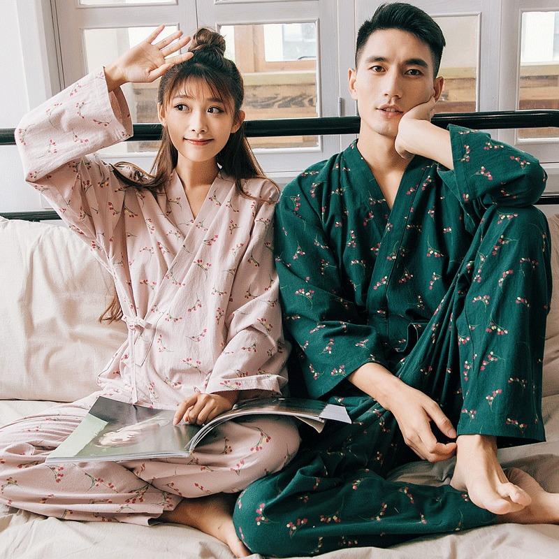 ¥89 日式情侣睡衣纯棉长袖居服套装+送袜子 89包邮