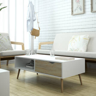 慧乐家 边桌茶几 小户型客厅家具 艾克妮北欧创意带抽方形茶几 现代简约咖啡桌 100*50cm 木纹色 11370 229元