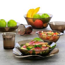 DURALEX 多莱斯法国进口餐具套装双人8件套 钢化玻璃杯碗碟套装易清洗 咖啡