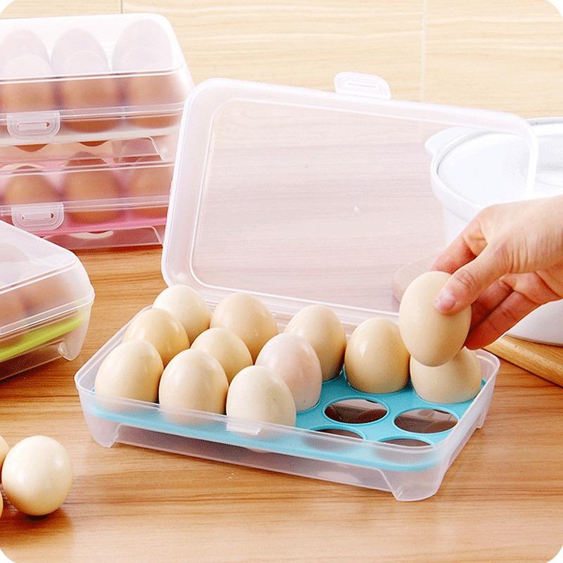 昶购 15格冰箱塑料保鲜鸡蛋盒 2个装¥9.9包邮