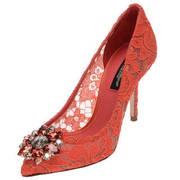 Dolce & Gabbana 杜嘉·班纳 女士红色蕾丝网面高跟鞋 CD0101 AL198 80317 39码 3894元'