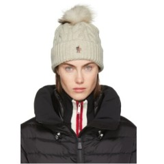 Moncler 经典款羊绒皮草球球保暖帽