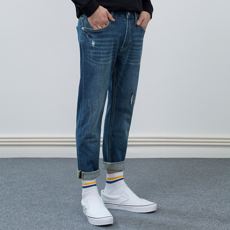 Lee 李 18春夏新品 X-line LMR7053QJ8MP 男士破洞九分牛仔裤 599元