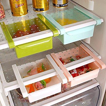 Yandex 抽拉式冰箱保鲜 收纳置物盒 厨房抽动分类置物盒储物架 多用收纳架(两18.9元