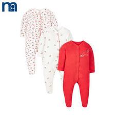 mothercare英国 婴儿连体衣3件装小汽车纯棉男婴宝宝长爬爬服哈衣 169元